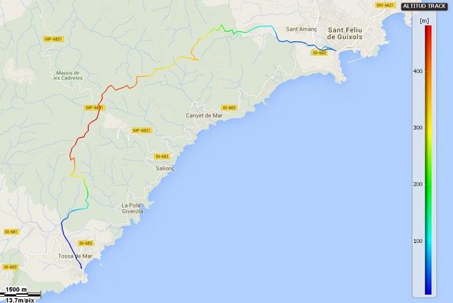 Mapa dels Camins de la Mediterrània etapa 15. Sant Feliu - Tossa