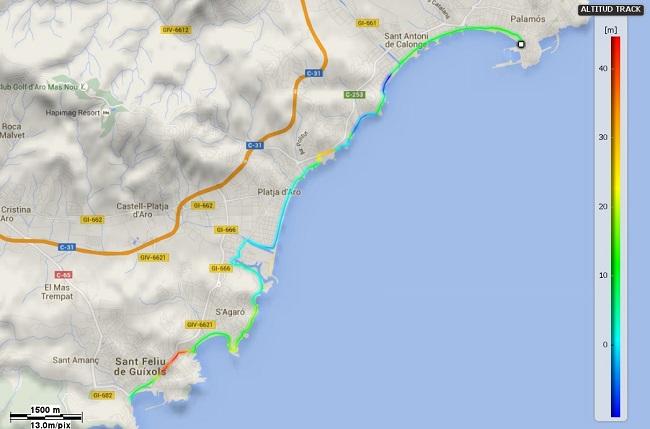 Mapa Mediterrània etapa 14: Palamós - Sant Feliu de Guíxols