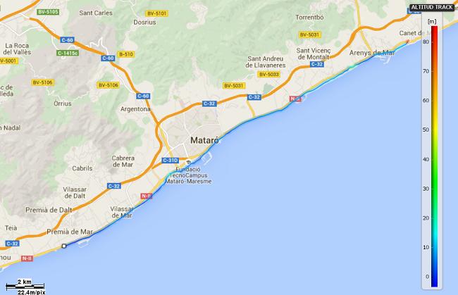 Mapa etapa 18 Canet de Mar Premià de Mar
