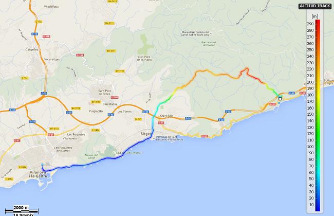 Mapa etapa 22: Garraf - Vilanova i la Geltrú