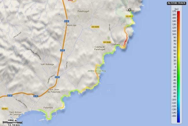 Mapa Mediterrània etapa 13: Tamariu - Palamós per Cala S'Alguer