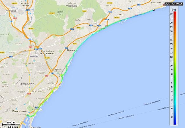 Mapa etapa 19. Premià de Mar - Barcelona