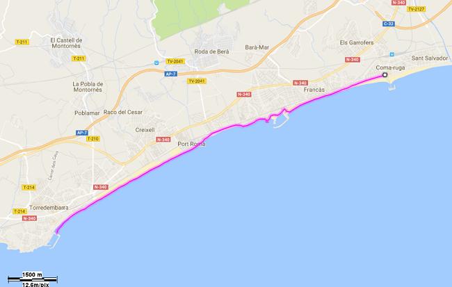 Mapa etapa 24 entre Coma-ruga i Torredembarra