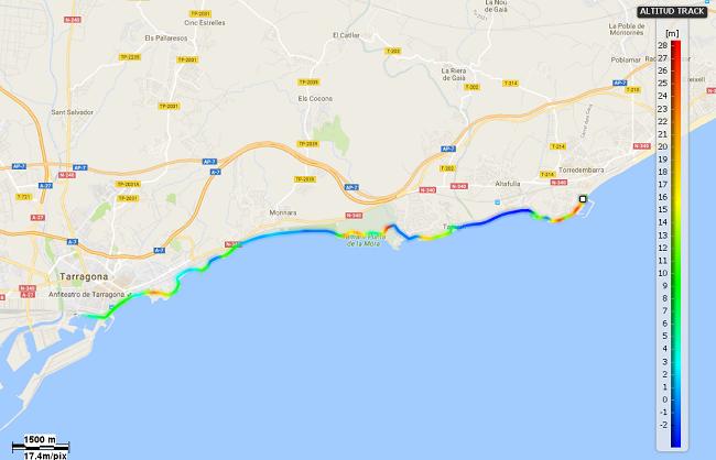 Mapa etapa 25 entre Torredembarra i Tarragona